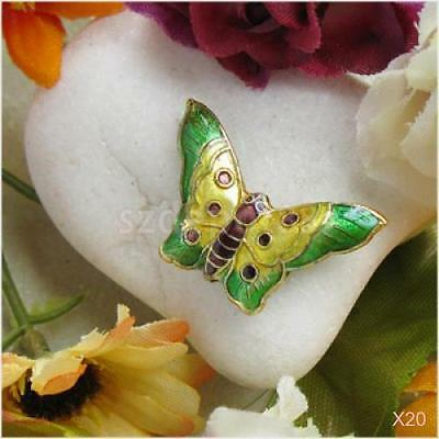 20x Green Chinese Cloisonne Enamel Butterfly Spacer Beads 18 x 27.5mm Beafutiful