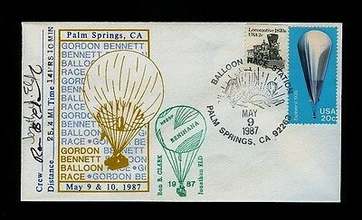 May 9 1987 Gordon Bennett Balloon Race Palm Springs CA Ballon-Carried SIGNED
