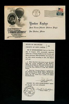 Aug 8 1973 Yankee Zephyr Balloon Mail Carried Cover w/Insert - Artcraft Cachet