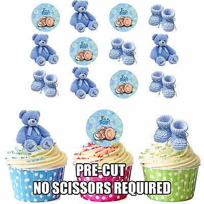 Blue Baby Boy Mix 12 Edible Cup Cake Toppers Baby Shower Christening Decorations