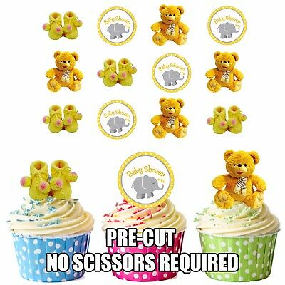 Yellow Baby Boy Or Girl Mix 12 Edible Cup Cake Toppers Baby Shower Decorations