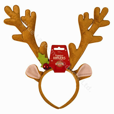 Christmas Novelty Reindeer Antlers Headband Festive Party Fancy Dress Hat Bell
