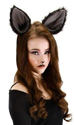 Deluxe Oversized Large Kitty CAT Panther Bat Wolf Ears Costume Accessory Black