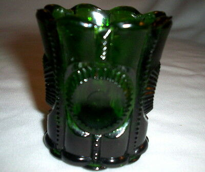 L. G. Wright COLUMBIA or PRISCILLA Pattern Green Glass Toothpick Holder: EXC:NR