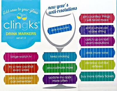 CLINGKS 12 Glass Drink Markers Clings New Years Anti Resolutions Wine Charms NEW