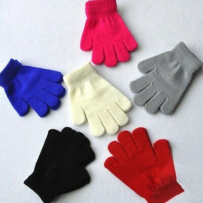 New Boy Girl Knitted Gloves Kids Full Finger Stretch Glove Student Winter Warmer