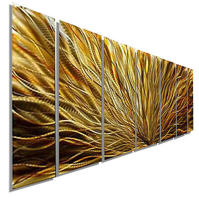 Statements2000 3D Metal Wall Art Abstract Painting Amber Gold Decor by Jon Allen