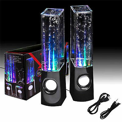 Water Dancing 5 LED Fountain USB Stereo Speakers PC Laptops iPhone