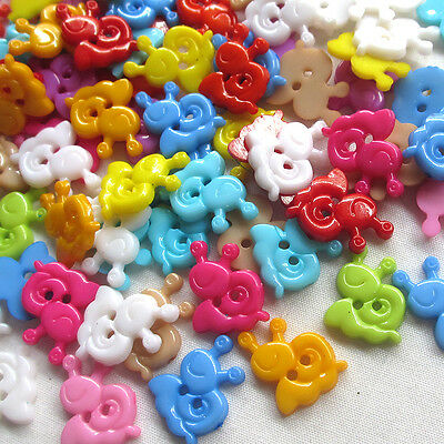 New 20/100/500pcs Mix Snail Plastic Buttons 15mm Sewing Craft 2 Holes Lots