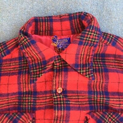 Vintage 90s Size L Pendleton Wool Red Plaid Button Up Work Shirt USA Made Large