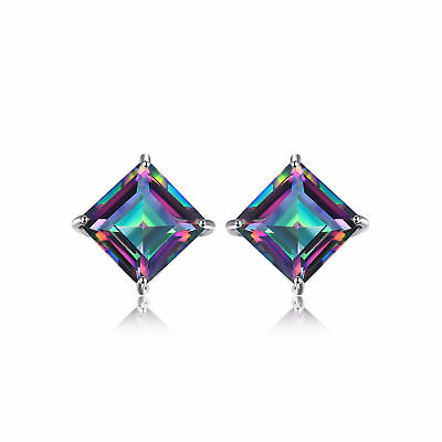 JewelryPalaceNatural Fire Rainbow Coated Quartz Earrings Stud 925 SterlingSilver