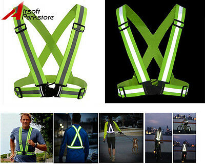 Unisex Night Cycling Riding Running Reflective Safety Vest Straps Outdoor Sports
