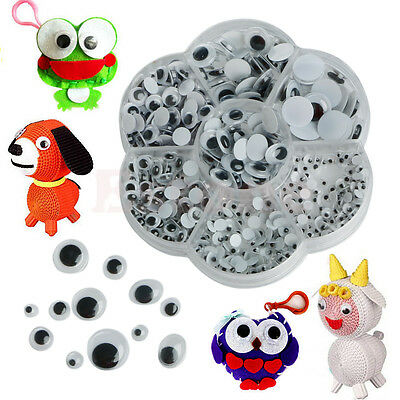 New 500pcs 4-12mm Wiggly Wobbly Googly Eyes Self-adhesive Scrapbooking Crafts