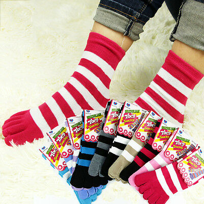 UK 6 Pairs Cotton Womens Girls Striped Five Fingers Toe Ankle Socks Mixed Colors
