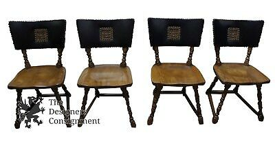 4 Romweber Viking Oak Leather Back Dining Chairs Card Poker Seats Mid Century