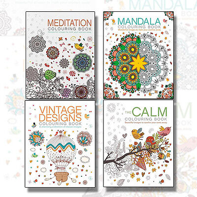 Colouring Books 4 Books Collection Set (Meditation,Vintage,Calm,Mandala) New