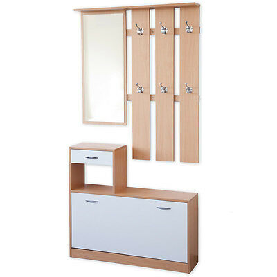 vicco garderobe gentle wei set spiegel schuhschrank wandpaneel kleiderhaken eur 104 90. Black Bedroom Furniture Sets. Home Design Ideas