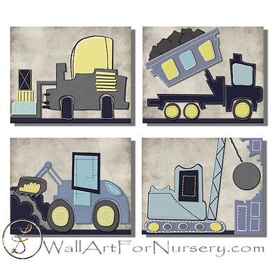 Construction Nursery trucks WALL ART FOR NURSERY, kids, boys room bedding decor
