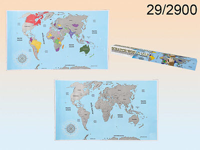 Scratch Off World Map Poster - Countries Large Atlas Christmas Gift Travel