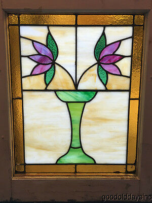 "Nice Classic Bungalow Stained Leaded Glass Window Vase w/ Two Flowers 25"" x 20"