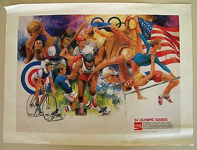 "COCA COLA '84 Olympic Games Poster by WAYLAND MOORE Sports Artist COKE 24"" x 18"""