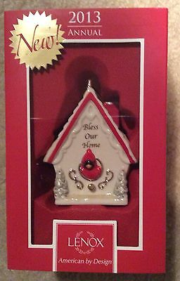 FREE S&H Lenox 2013 Bless Our Home Birdhouse Cardinal Ornament New In Box