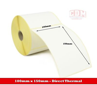100mm x 150mm Direct Thermal Labels with perforation - 500 per roll - 25mm core