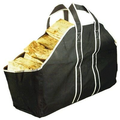 Large Heavy Duty Canvas Log Carrier Bag Fireplace Wood Holder Storage Tote #0737