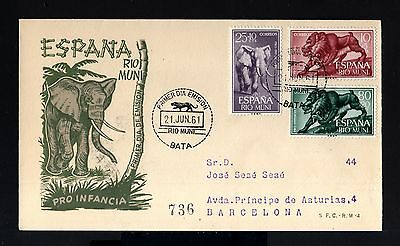 6699-RIO MUNI-EXCOLONIAS ESPAÑOLAS-FDC.REGISTERED COVER BATA.1961.SPAIN colonies