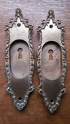 Two Antique Victorian Copper Plated Brass Pocket Door Pulls Pull Plates c1885