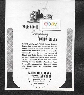 Lauderdale Beach Hotel Ft Lauderdale 1941 Your Choice Of Everything Florida Ad