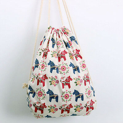 Handmade Linen Cotton Draw String Backpack Printed Colours Horses SD185 B#