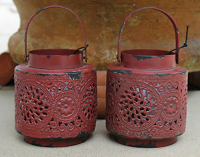 * REDUCED *    PAIR of  Morrocan Style  Rustic  Metal Lanterns  BRAND NEW