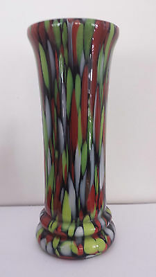 Antique Splatter Glass Cased Vase