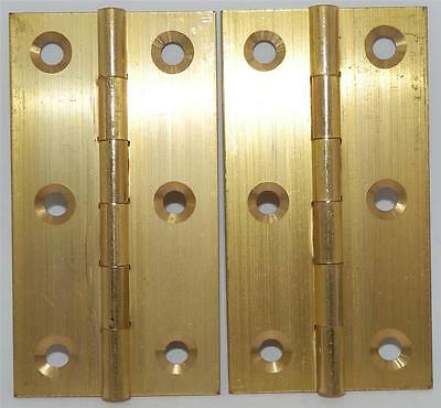 "PAIR of SOLID BRASS BUTT HINGES 3"" or 75mm INCLUDES SCREWS"