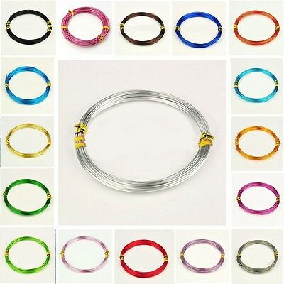 QUALITY ALUMINIUM JEWELLERY CRAFT WIRE 0.8mm 1mm 1.5mm & 2mm 20 COLOUR CHOICE W1
