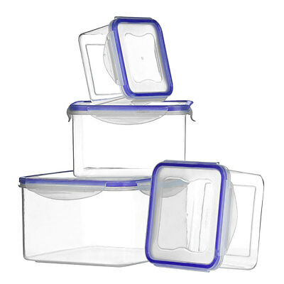 Set Of 4 Square Tubs Plastic Clip Lock Take Away Food Storage Lunch Containers