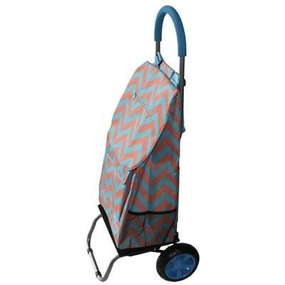 Dbest Products 01-582 Trendy Trolley Dolly Broken Chevron Teal & Coral