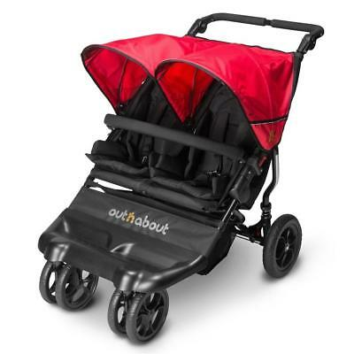 Out n About Little Nipper DOUBLE (Poppy Red) Compact Twin Baby Pushchair