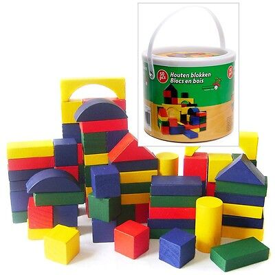 Childrens 50Pc Wooden Building Blocks Kids Construction Toy Bricks Set With Tub