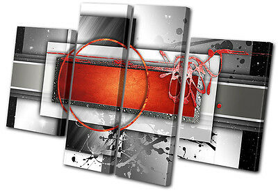 Abstract Modern Red  MULTI CANVAS WALL ART Picture Print VA