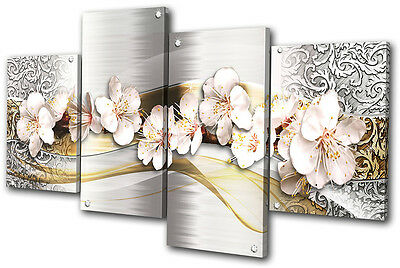 Abstract Modern Floral MULTI CANVAS WALL ART Picture Print VA