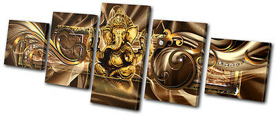 Abstract Modern Ganesh MULTI CANVAS WALL ART Picture Print VA