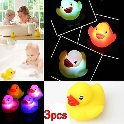 3x Kids Bathtime Bath Tub Floating Duck Color Changing LED Flashing Light Toy BA