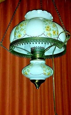 VINTAGE swag chain HANGING Hurricane Chandelier Milk Glass yellow flower