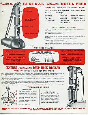 """Vintage """"GENERAL PACIFIC"""" Sales Brochure: """"DRILL FEED"""" & """"DEEP HOLE DRILLER"""""""