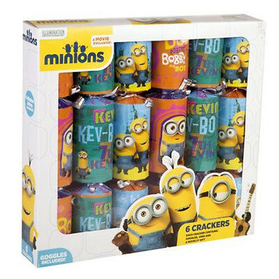 6 X Despicable Me Minions Fire Cracker Christmas Xmas Festive Party Tableware