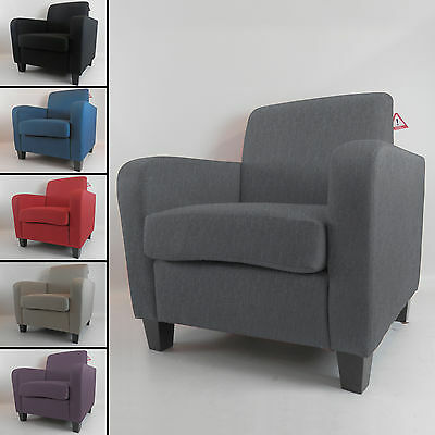 Fabric Linen Office Tub Chair Armchair Living Room Dining Reception