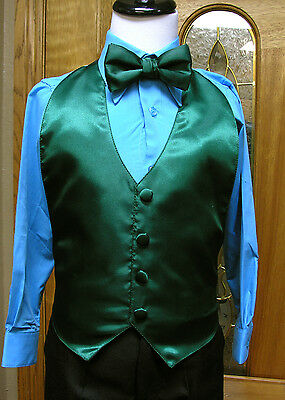 Vest Boys Emerald Forest Green bowtie Ring Bearer Wedding Party fitall(3-10)