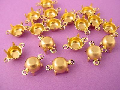 24 Brass Prong Settings 35SS (7mm) 2 Ring closed  Backs connectors